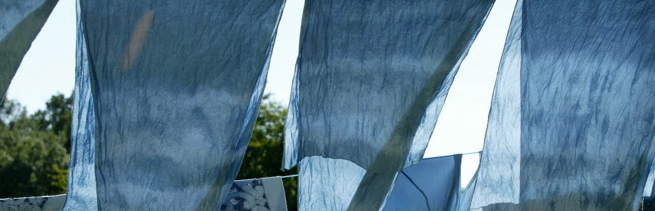 Fabrics dyed with woad